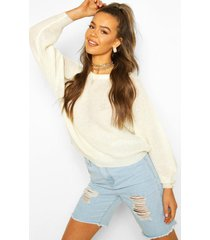 rib knit balloon sleeve sweater, ivory