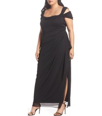 plus size women's alex evenings cold shoulder ruffle gown