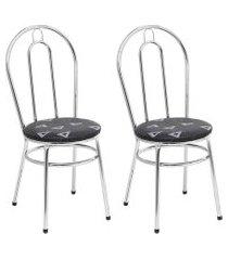 conjunto com 2 cadeiras ilustre cromado e estampado