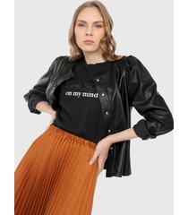 camiseta negro-plateado mng