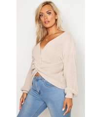 plus twist front knitted sweater, stone