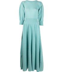 ami amalia fien knit merino wool maxi dress - blue