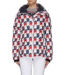 'abscisse' rooster print hooded puffer jacket