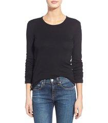 women's splendid long sleeve crewneck tee, size x-large - black