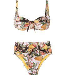 brigitte cacau printed hot pants bikini set - multicolour