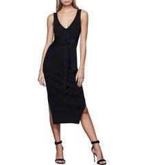 women's good american rib knit tie waist midi dress, size 4 - black