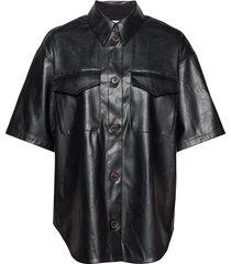 short-sleeved leather free leather shirt kortärmad skjorta svart designers, remix