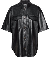 short-sleeved leather free leather shirt kortärmad skjorta svart designers, remix
