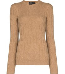 polo ralph lauren cable-knit cashmere jumper - luxury beige heather