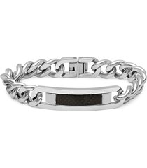 anthony jacobs men's stainless steel cuban-link id bracelet