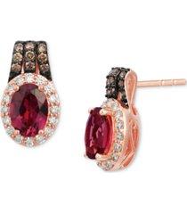 le vian raspberry rhodolite (1-5/8 ct. t.w.) & diamond (3/8 ct. t.w.) stud earrings in 14k rose gold