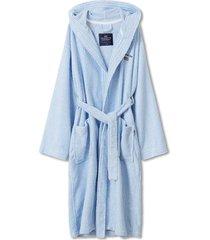 striped organic cotton-mix hoodie robe morgonrock badrock blå lexington home
