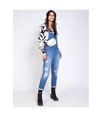macacáo feminino jeans destroyed