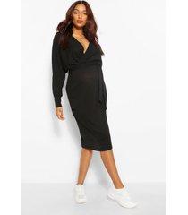 zwangerschaps gebreide geribbelde wikkel trui jurk, zwart