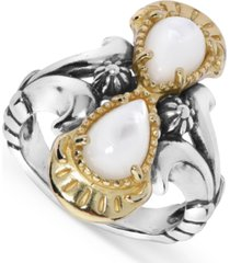 american west white mother of pearl ring in sterling silver