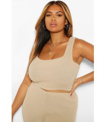 plus knitted crop top, sand