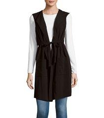 solid foldover-collar vest