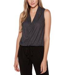 belldini black label polka dot open collar sleeveless wrap top