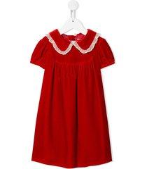 bonpoint peter pan-collar velvet dress - red