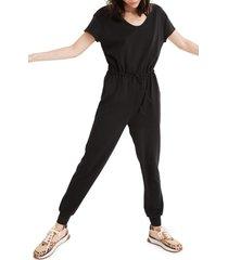 women's madewell mwl breeze drawstring jumpsuit, size small - black