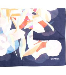 chanel pre-owned abstract print semi-sheer scarf - blue