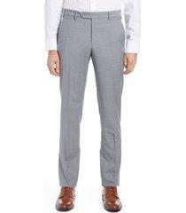 men's zanella flat front wool trousers, size 40 - grey