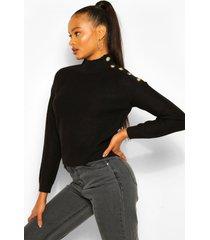 button shoulder sweater, black