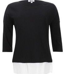 camiseta acanalada unicolor color negro, talla 6