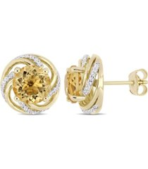 citrine (3-5/8 ct. t.w.) and white topaz (1/4 ct. t.w.) swirl stud earrings in 18k yellow gold over sterling silver