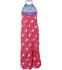 lange jurk admas blauwe en rode zomerjurk rood