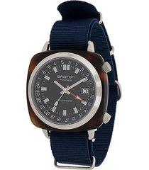 briston watches clubmaster gmt traveller acetate watch - black