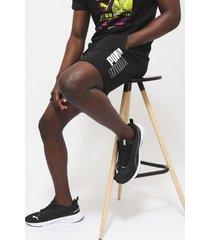 short puma power logo shorts 8 tr negro - calce regular