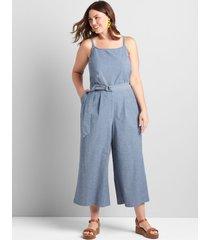 lane bryant women's chambray cami cropped wide-leg jumpsuit 16 chambray