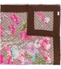 gucci spring bouquet shawl - brown
