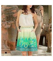 cotton skirt, 'seaside garden' (india)