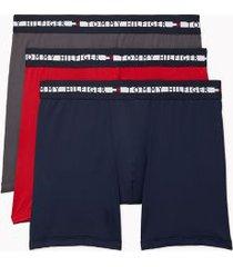 tommy hilfiger men's comfort + boxer brief 3pk grey/red/navy - xl