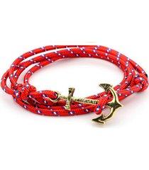unisex multilayer handmade rope wristband anchor bracelet-red