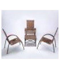 conjunto mesa de centro e 3 cadeiras cravo para área edicula jardim, ferro e fibra trama fechada argila