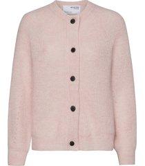slflulu ls knit short cardigan gebreide trui cardigan roze selected femme