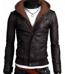men leather jacket, men fabric hooded leather jacket, mens hooded jacket, hoodie