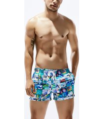 hombres summer bohemian style tropical print beach surf shorts traje de baño