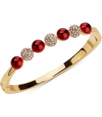 charter club gold-tone pave fireball & imitation pearl bangle bracelet, created for macy's