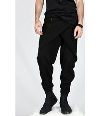 incerun hombres casual baggy street hippy irregular zipper long pantalones