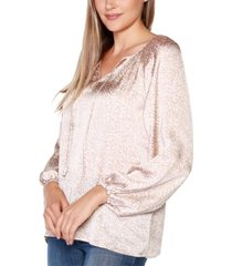 belldini black label petite printed tie-neck top with blouson sleeves
