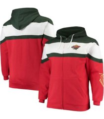 profile men's minnesota wild colorblock fleece hoodie