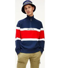 tommy hilfiger men's colorblock popover sweater twilight navy / multi - xxl
