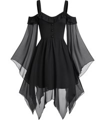 butterfly sleeve cold shoulder lace-up handkerchief gothic chiffon dress