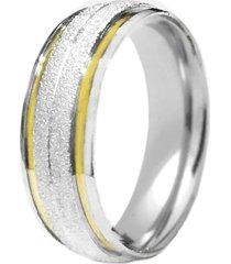 aliança prata mil abaulada fosca de prata c/ filete de ouro prata