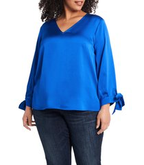 plus size women's cece tie sleeve satin blouse, size 3x - blue