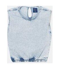blusa regata muscle em jeans marmorizado | blue steel | azul | p